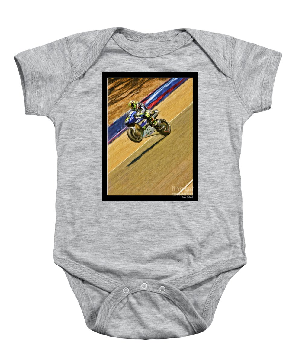 Valentino Rossi Baby Onesie featuring the photograph Valentino Rossi Wheely Down The Corkscrew by Blake Richards