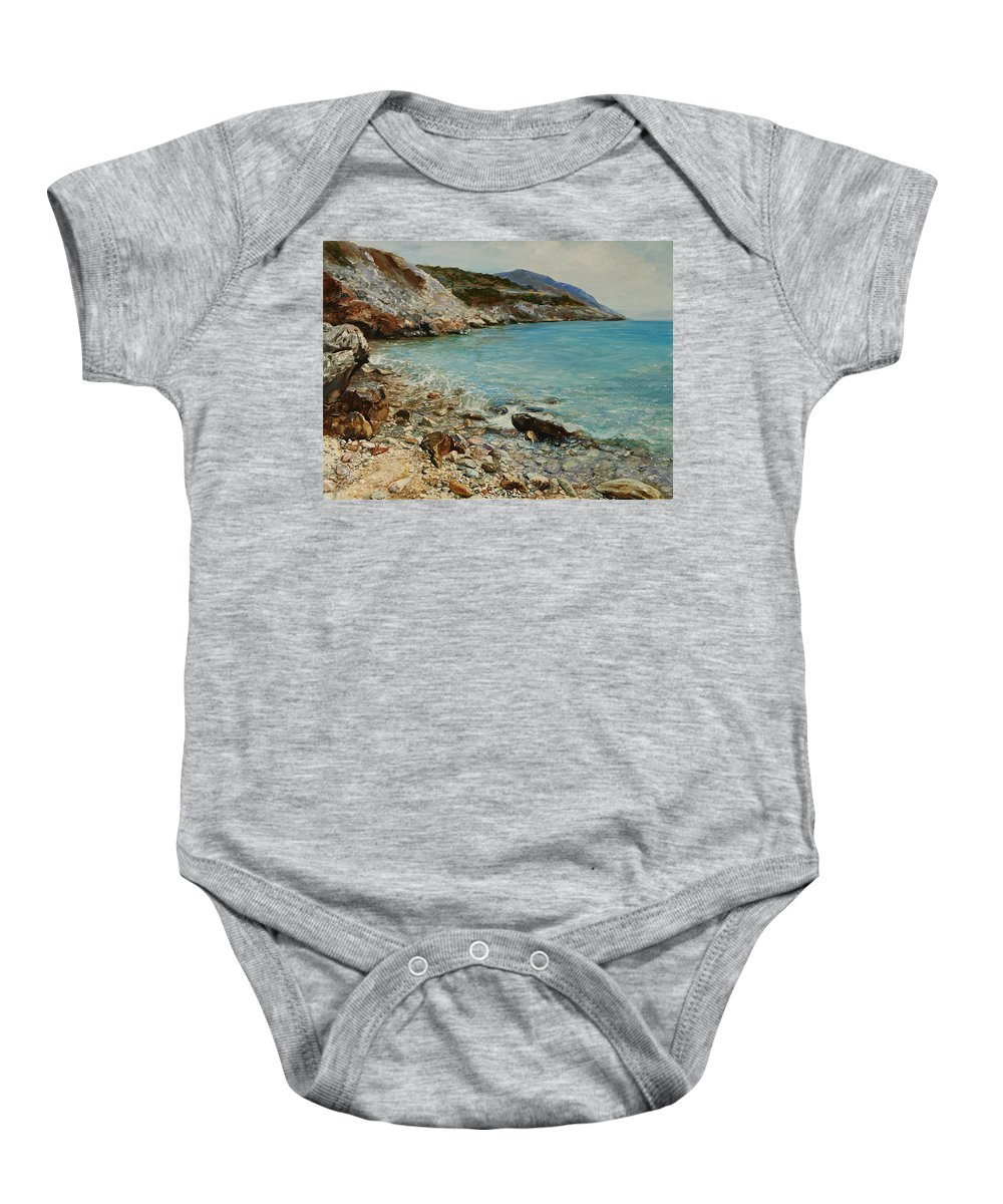 Seascape Baby Onesie featuring the painting Varkiza by Sefedin Stafa