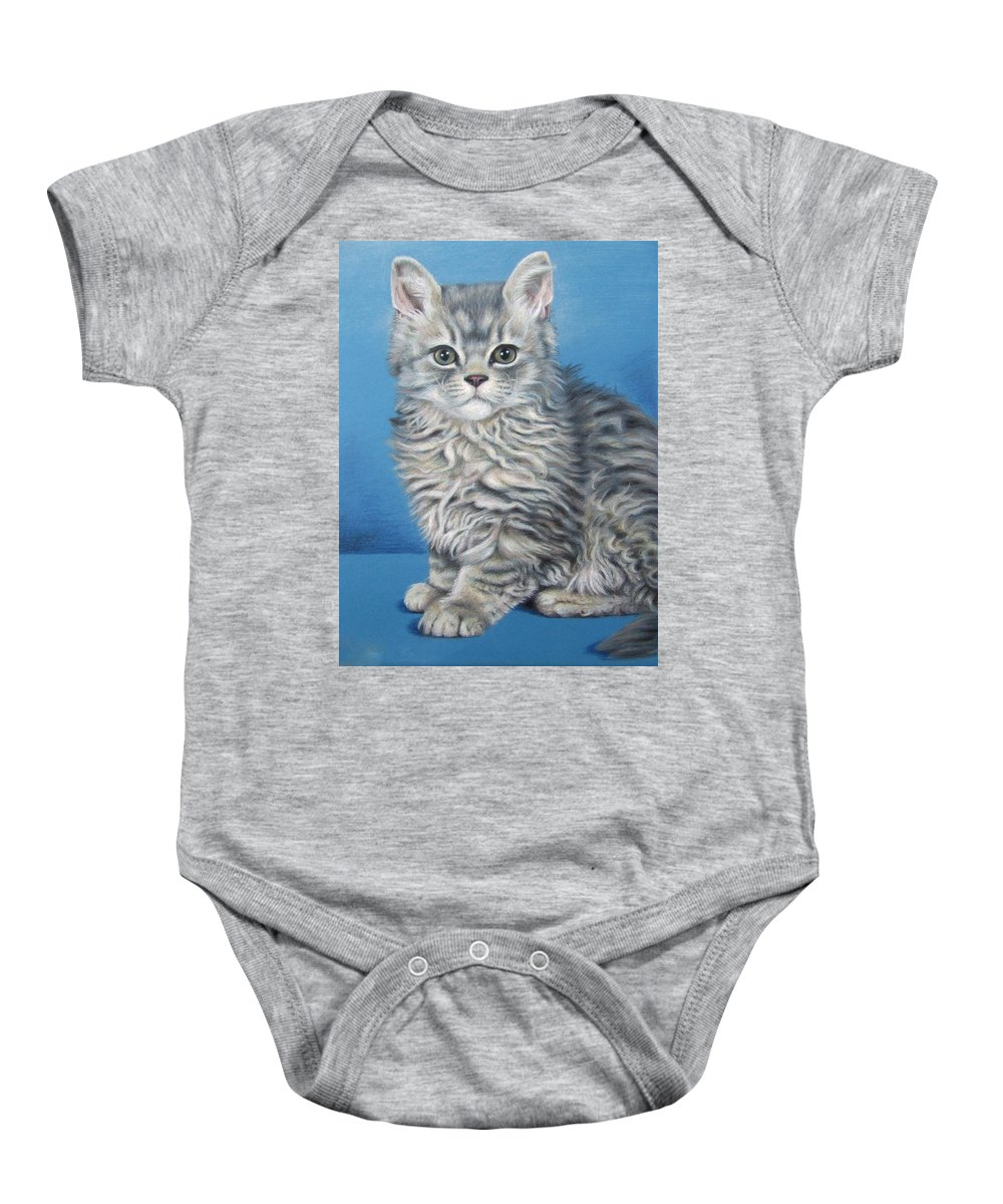 Cat Baby Onesie featuring the drawing Velvet Kitten by Nicole Zeug