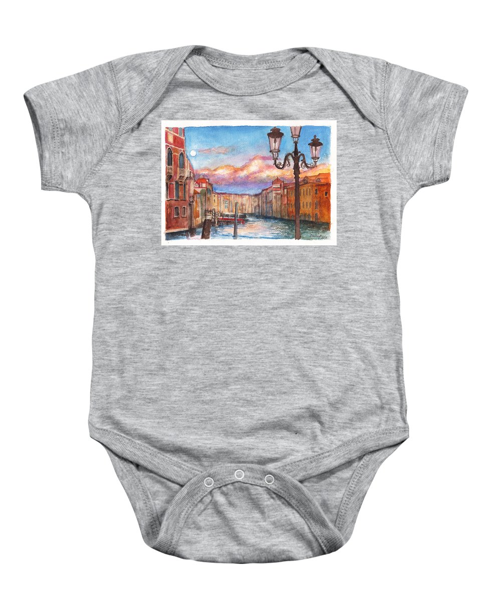 Venice Baby Onesie featuring the painting Venice Sunset by Dai Wynn