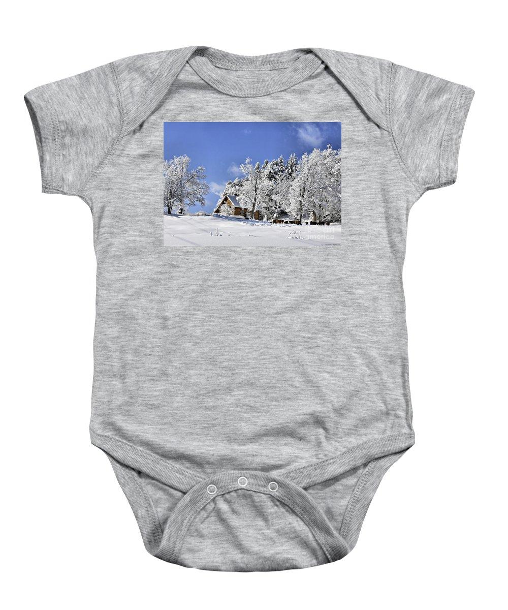 Winter Baby Onesie featuring the photograph Vermont Winter Beauty by Deborah Benoit