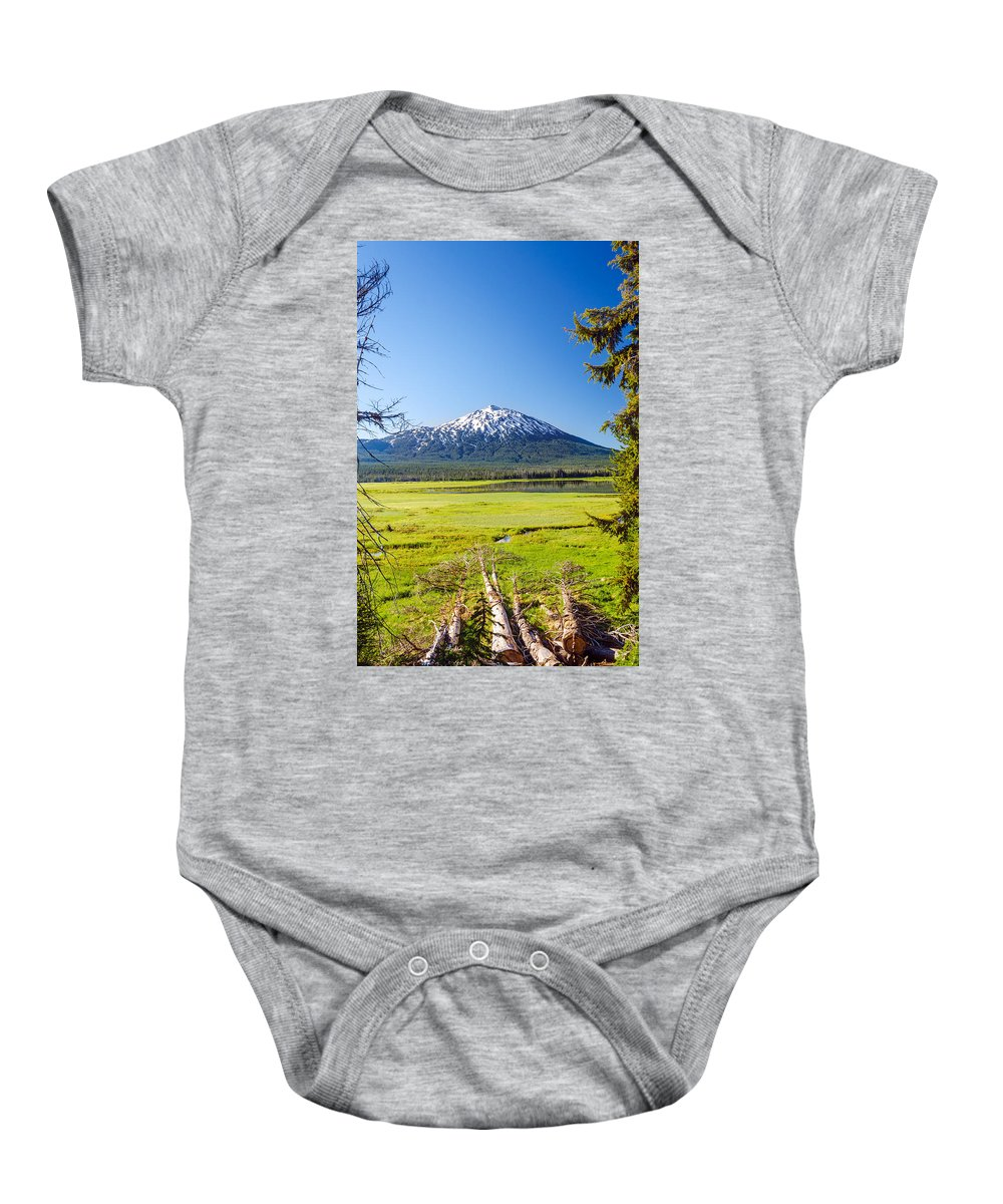Mountain Baby Onesie featuring the photograph Vertical Mount Bachelor by Jess Kraft