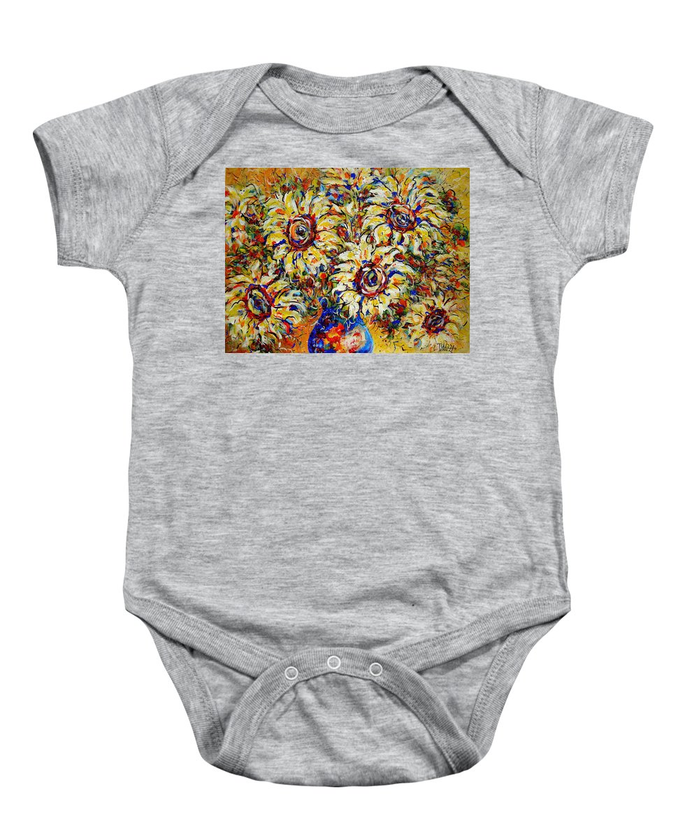 Flowers Baby Onesie featuring the painting Vibrant Sunflower Essence by Natalie Holland