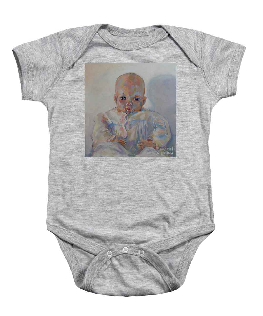 Madame Alexander Doll Baby Onesie featuring the painting Victoria I by Kimberly Santini