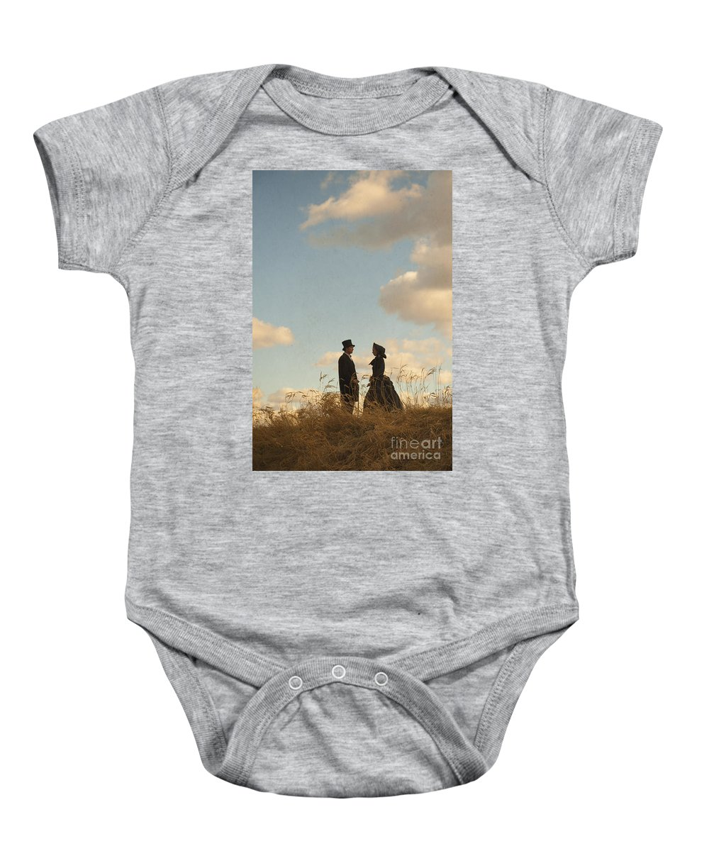 Victorian Baby Onesie featuring the photograph Victorian Man And Woman by Lee Avison
