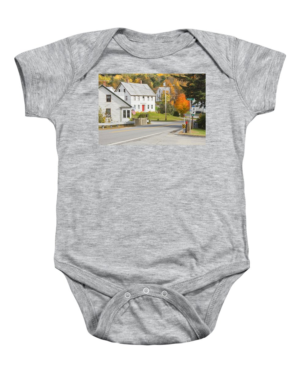 Maine Baby Onesie featuring the photograph Vienna Maine In Fall by Keith Webber Jr