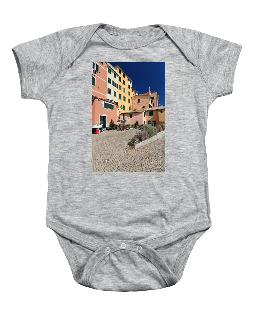 Ancient Baby Onesie featuring the photograph view in Sori Italy by Antonio Scarpi