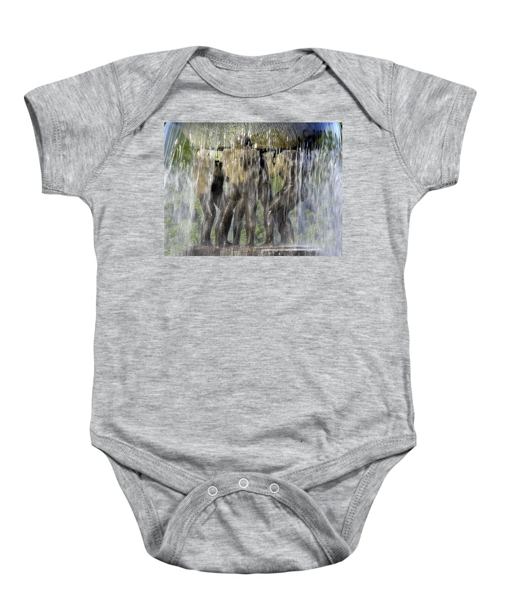 Fountain Baby Onesie featuring the photograph Vigelands Fountain by David Berg