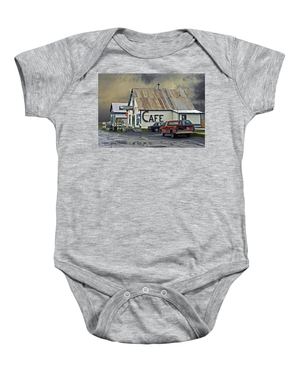 Alaska Baby Onesie featuring the photograph Vintage Alaska Cafe by Ron Day