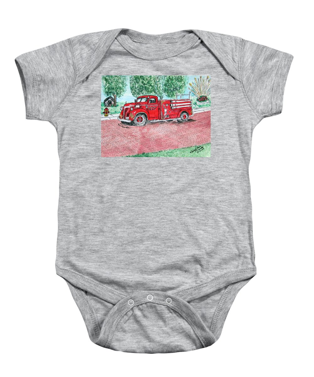 Firetruck Baby Onesie featuring the painting Vintage Firetruck by Kathy Marrs Chandler