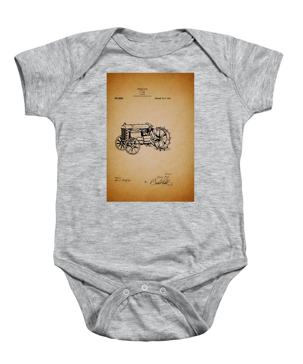 Patent Baby Onesie featuring the drawing Vintage Henry Ford Tractor Patent by Mountain Dreams