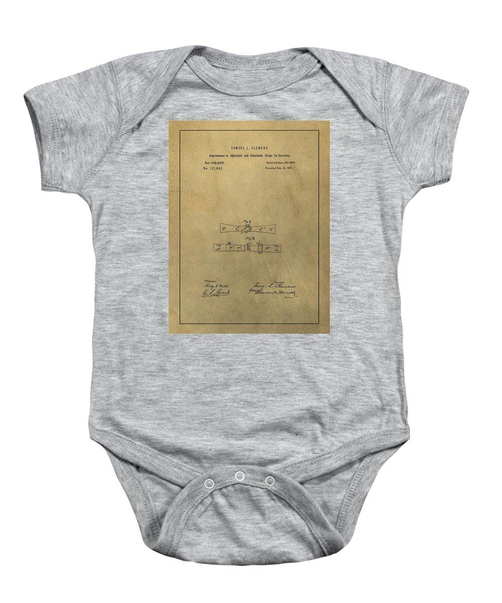 Vintage Mark Twain Patent Baby Onesie featuring the mixed media Vintage Mark Twain Patent by Dan Sproul