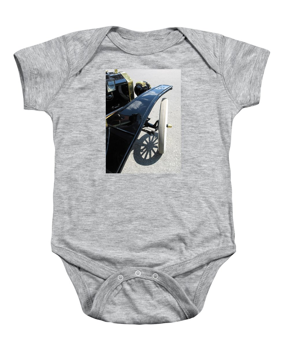 Model T Baby Onesie featuring the photograph Vintage Model T by Ann Horn