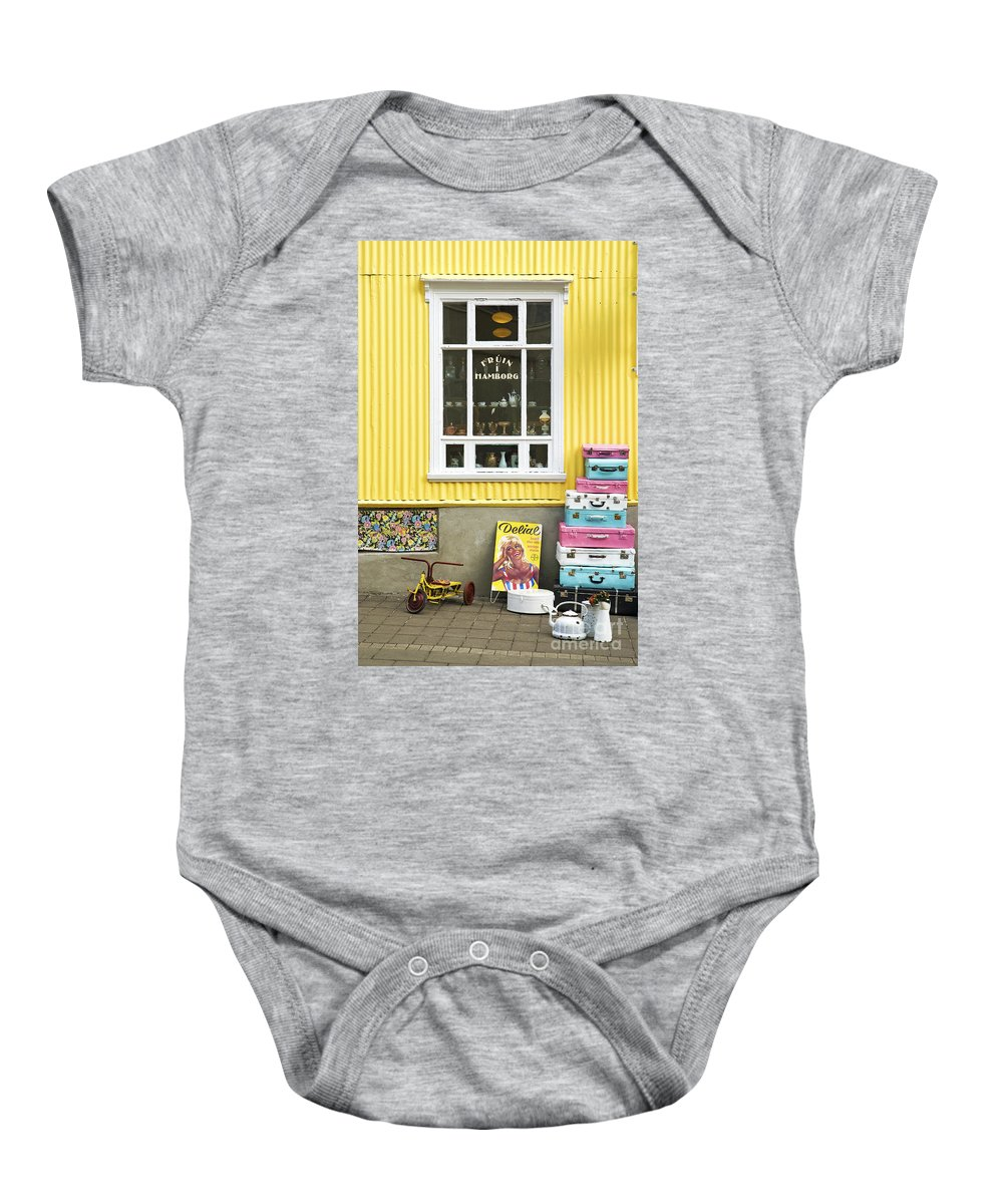 Vintage Baby Onesie featuring the photograph Vintage Shop In Akureyri Iceland by Jacek Malipan