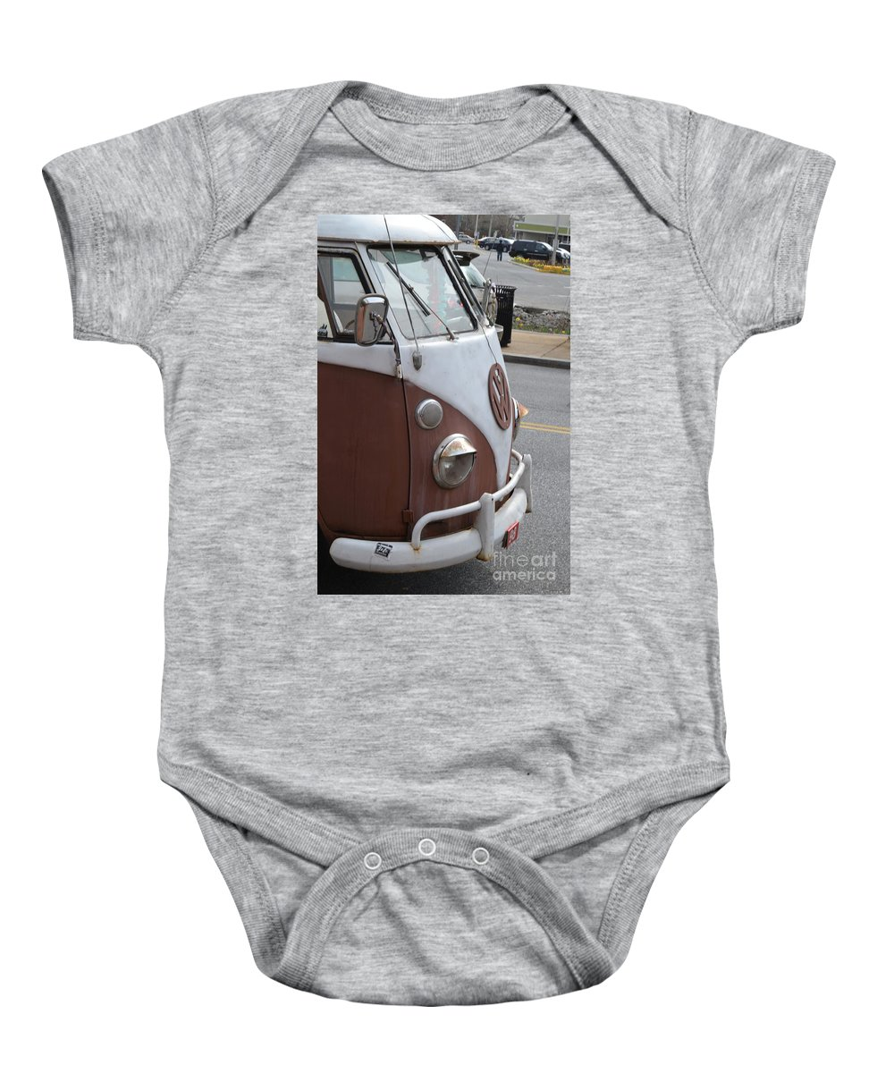 Vintage Baby Onesie featuring the photograph Vintage Vw by Heather Jane