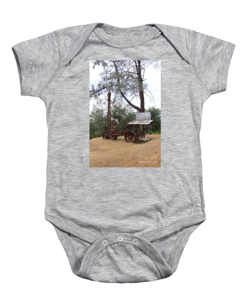 Well Driller Baby Onesie featuring the photograph Vintage Well Driller 2 by Mary Deal