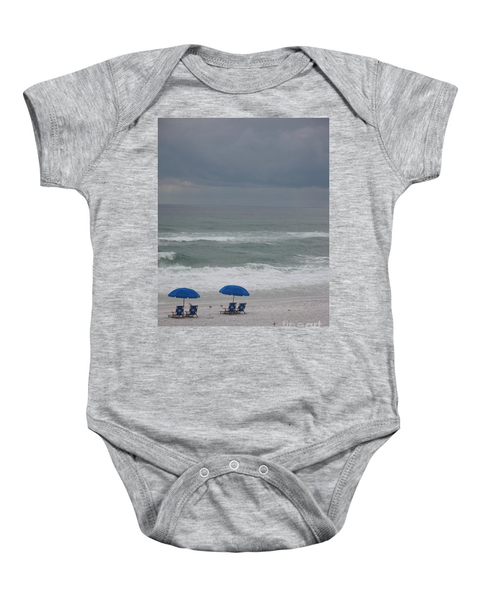 Sun Chairs Baby Onesie featuring the photograph Waiting For Sunshine by Christiane Schulze Art And Photography