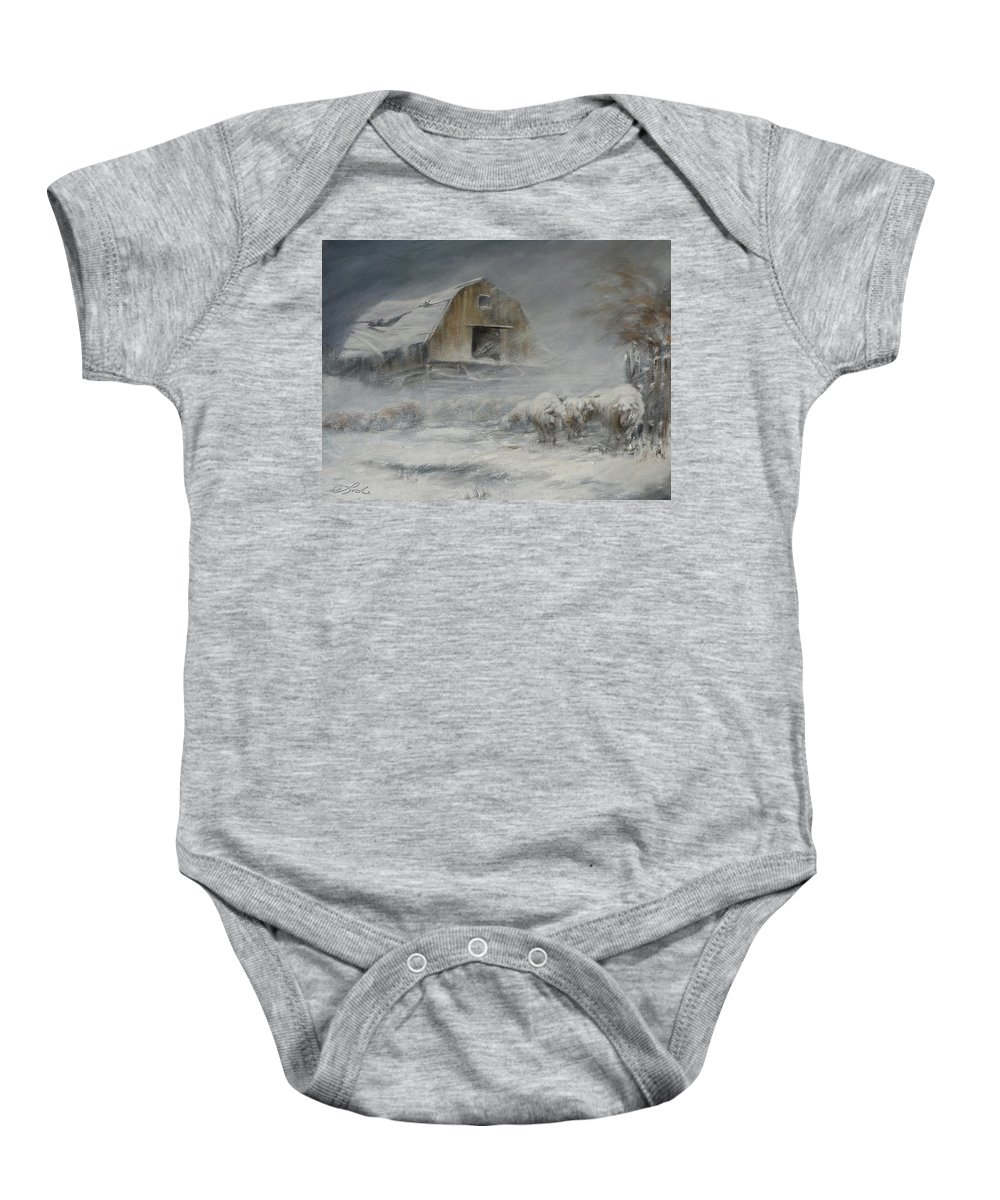 Sheep Baby Onesie featuring the painting Waiting Out The Storm by Mia DeLode