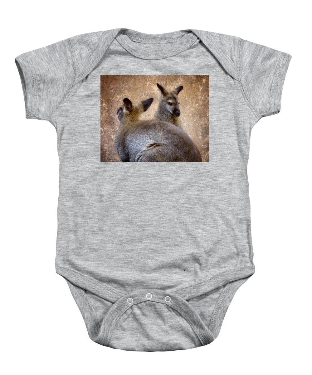 Marsupial Baby Onesie featuring the photograph Wallabies by Ellen Heaverlo