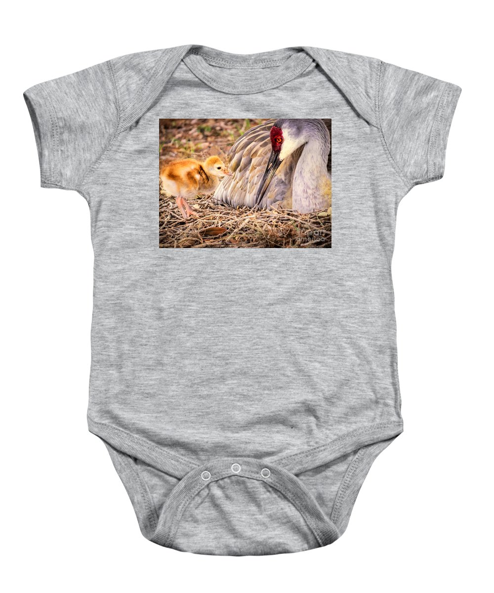 Sandhill Crane Baby Onesie featuring the photograph Wants Attention by Zina Stromberg