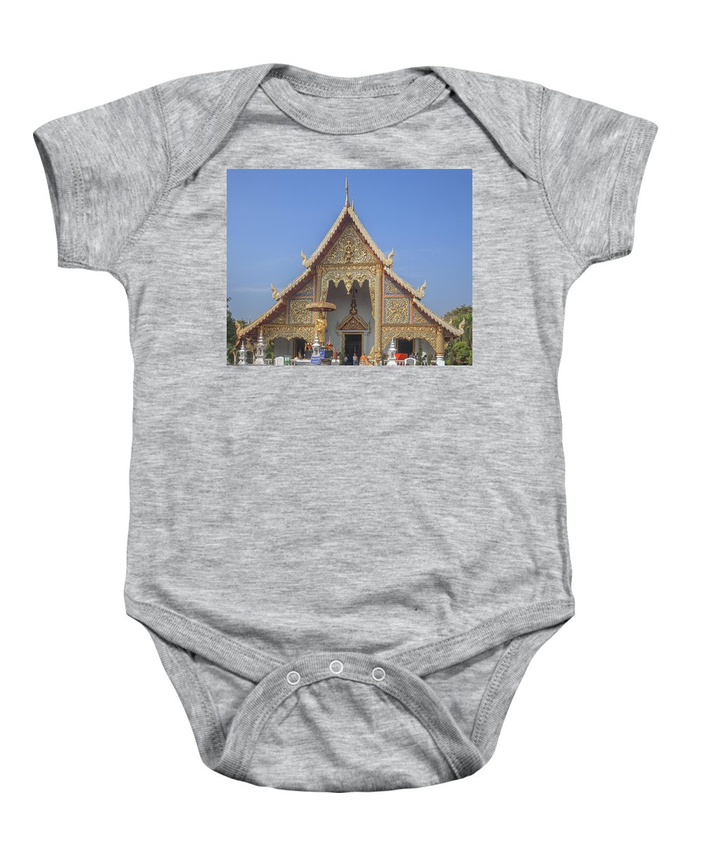 Scenic Baby Onesie featuring the photograph Wat Phra Singh Phra Wihan Luang Gable Dthcm0238 by Gerry Gantt