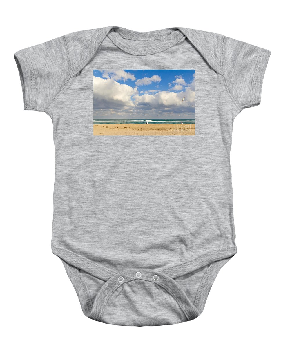 People Baby Onesie featuring the photograph Watching The Waves by Les Palenik