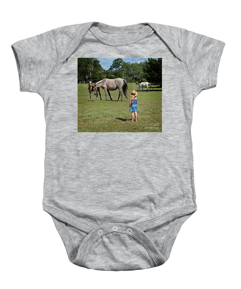 Wild Baby Onesie featuring the photograph Watching The Wild Horses by Louise Heusinkveld