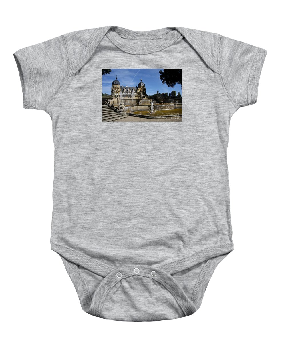 Franken Baby Onesie featuring the photograph Water Cascade Palace Seehof by Christiane Schulze Art And Photography