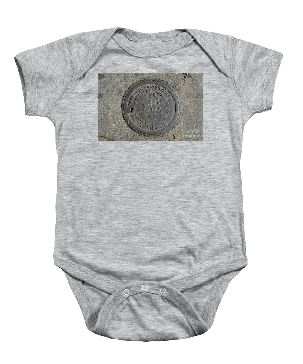 French Quarter Baby Onesie featuring the photograph Water Meter 2 by Alys Caviness-Gober