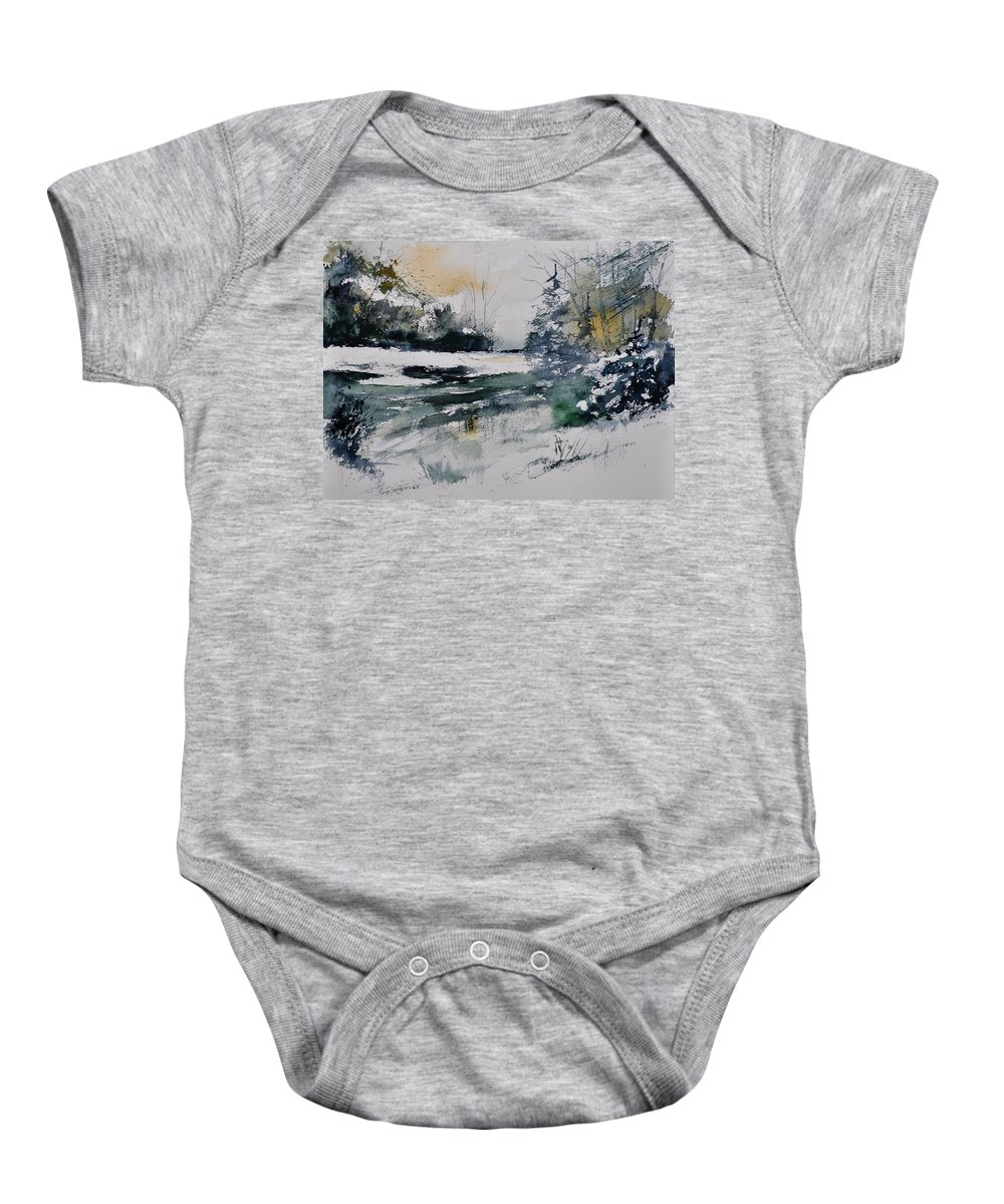 Landscape Baby Onesie featuring the painting Watercolor 411072 by Pol Ledent