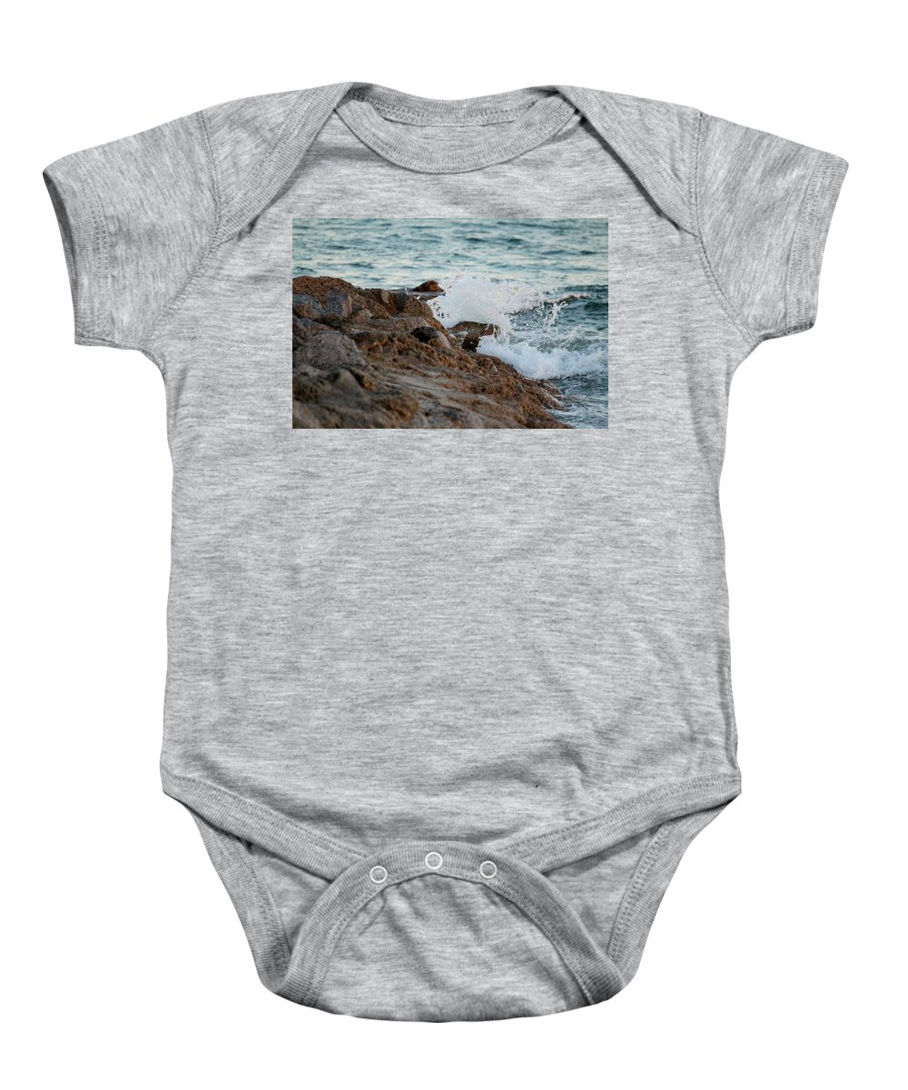 Nature Baby Onesie featuring the photograph Waves Hitting The Rocks by Cynthia Guinn