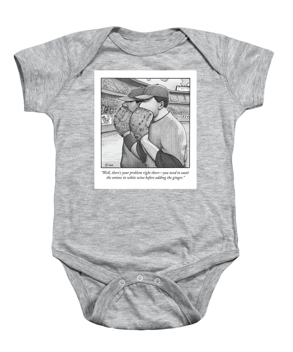 Well Baby Onesie featuring the drawing Well, There's Your Problem Right There - You Need by Harry Bliss
