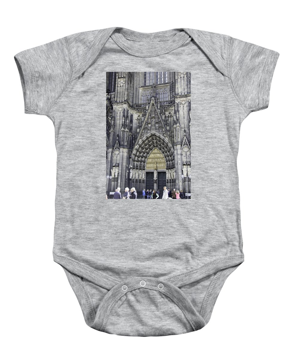 Cologne Cathedral Baby Onesie featuring the photograph West Entrance Door Cologne Cathedral by Teresa Mucha