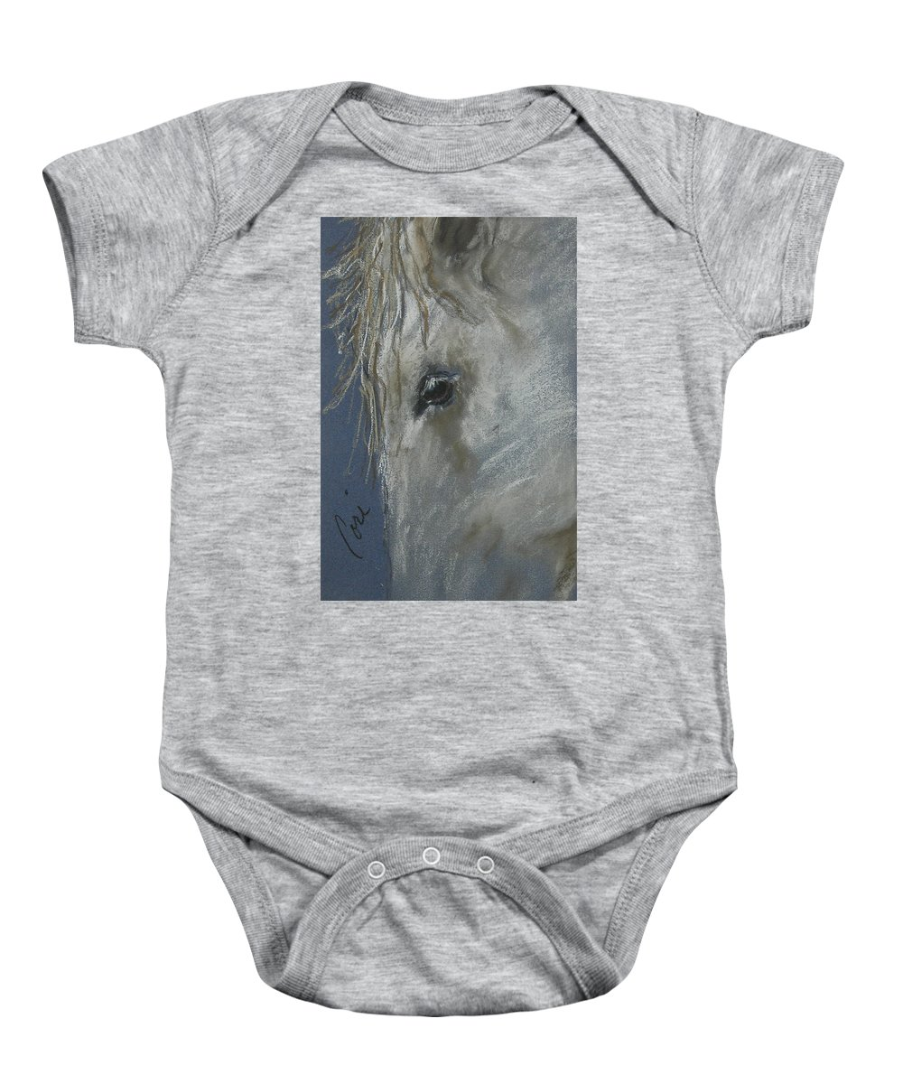 Inspired By Horses I Saw In Lexington Baby Onesie featuring the drawing Western Dreamer by Cori Solomon