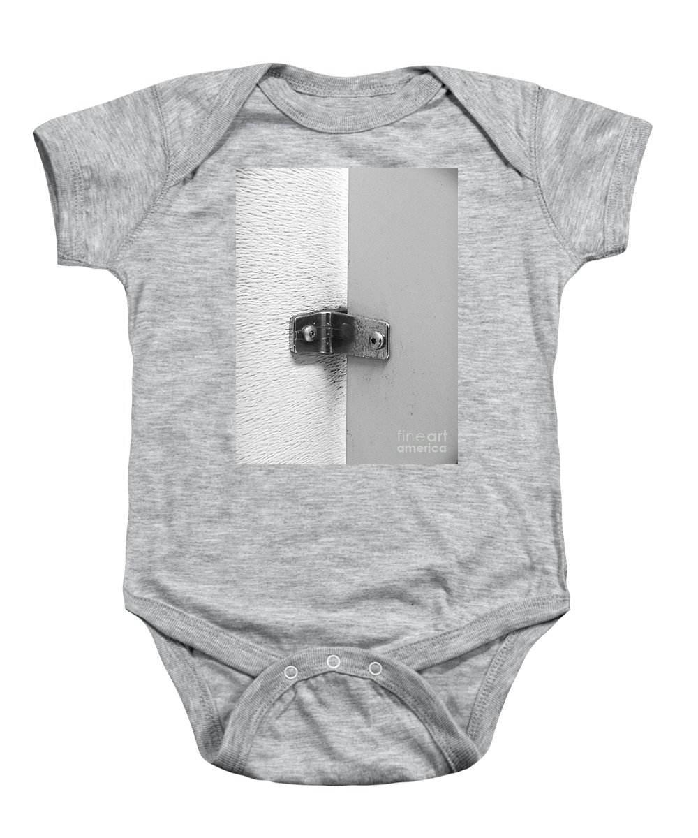 Black And White Baby Onesie featuring the photograph What Holds The Door by Fei A