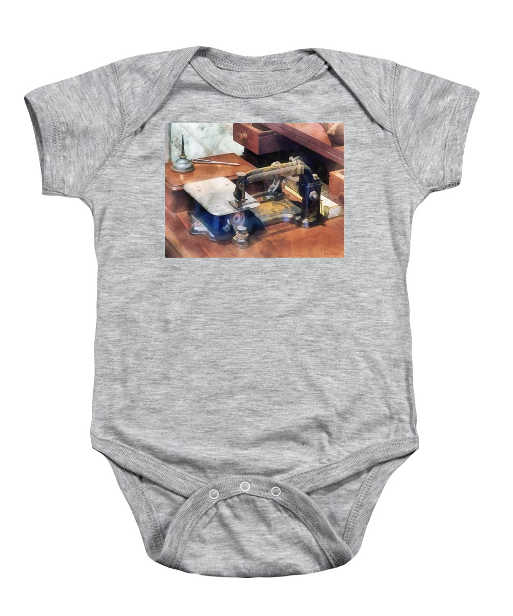 Sewing Machine Baby Onesie featuring the photograph Wheeler And Wilson Sewing Machine Circa 1850 by Susan Savad