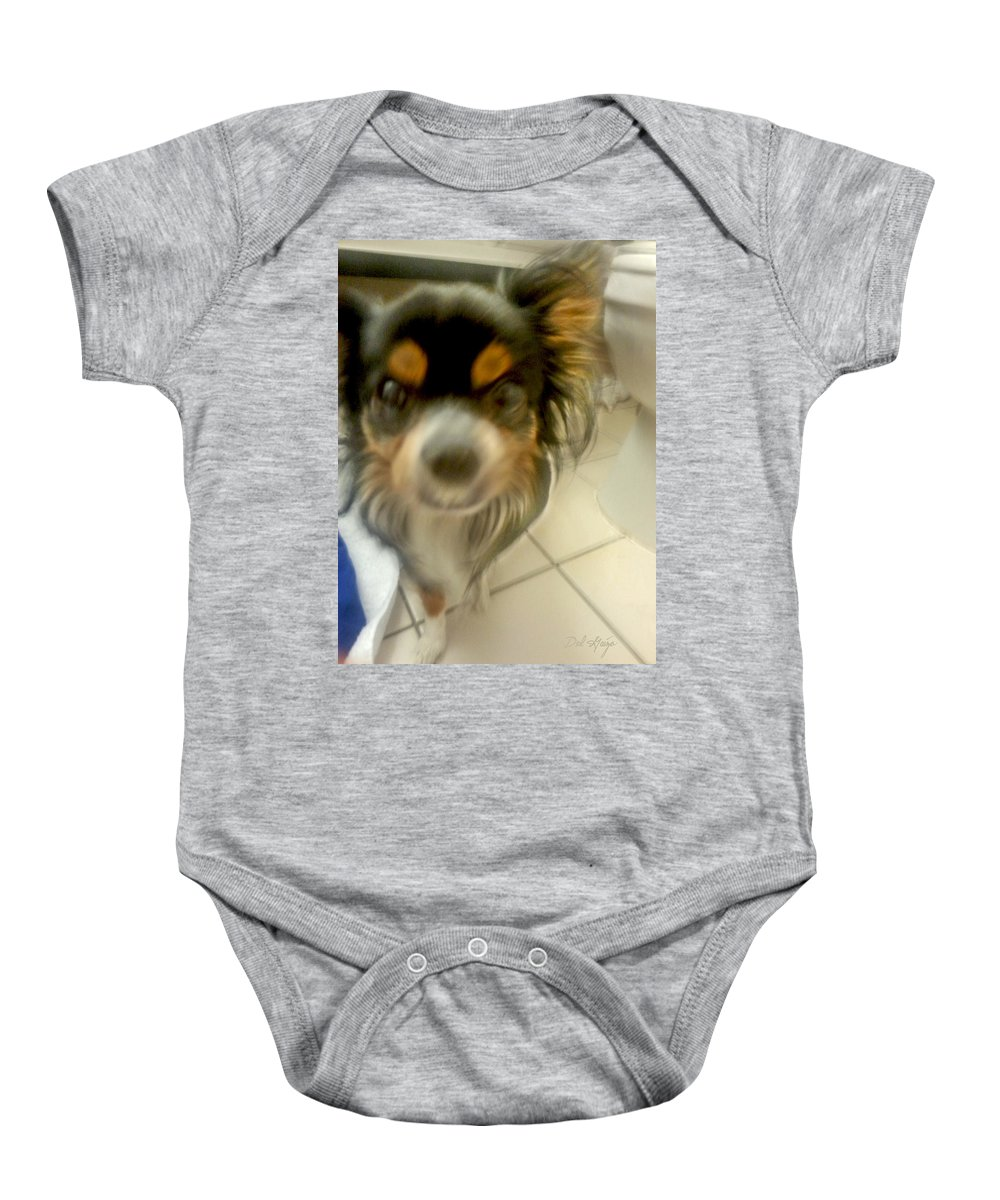 Yikes Baby Onesie featuring the photograph When Wedgie Attacks by Del Gaizo