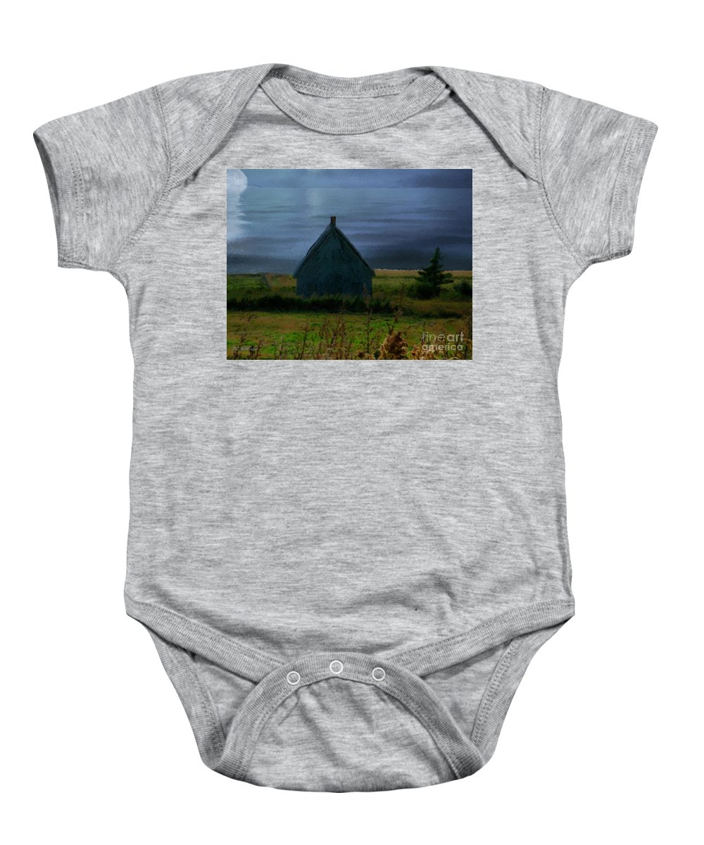 Moon Baby Onesie featuring the painting Where The Moon Meets The Water by RC DeWinter