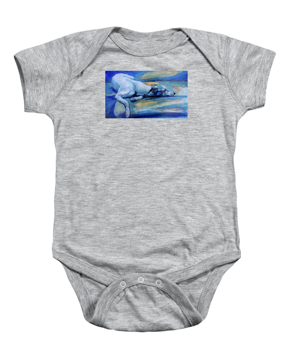 Dog Baby Onesie featuring the painting Whippet-effects Of Gravity-6 by Derrick Higgins