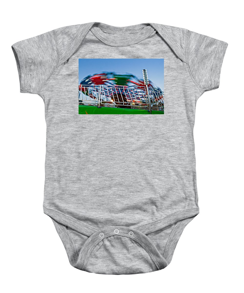 Bolton Fall Fair Baby Onesie featuring the photograph Whirling Into Fall by Steve Harrington