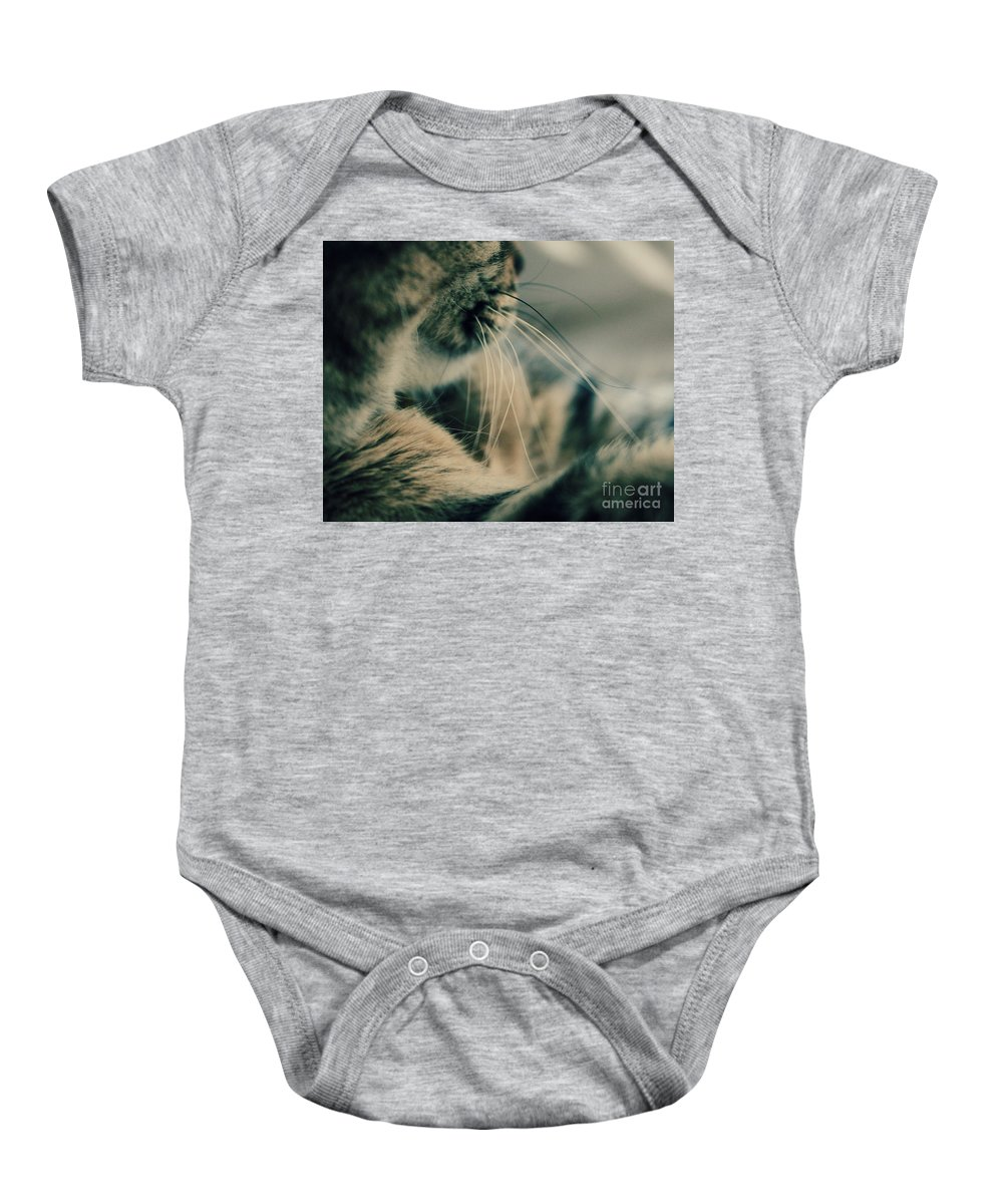Cat Baby Onesie featuring the photograph Whiskers by Emily Kay