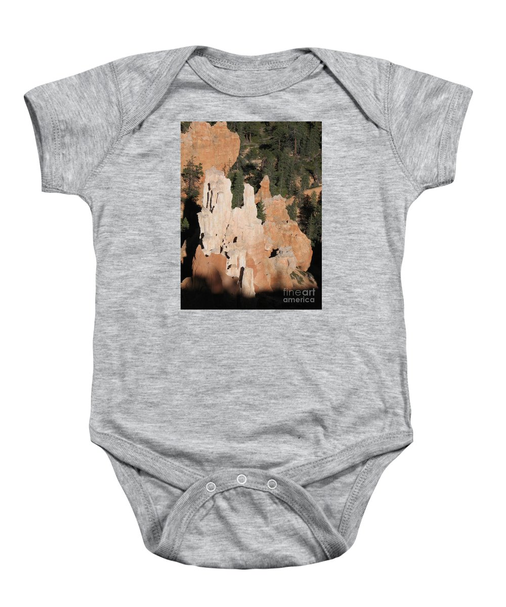 Rocks Baby Onesie featuring the photograph White And Red Rocks Of Bryce Np by Christiane Schulze Art And Photography