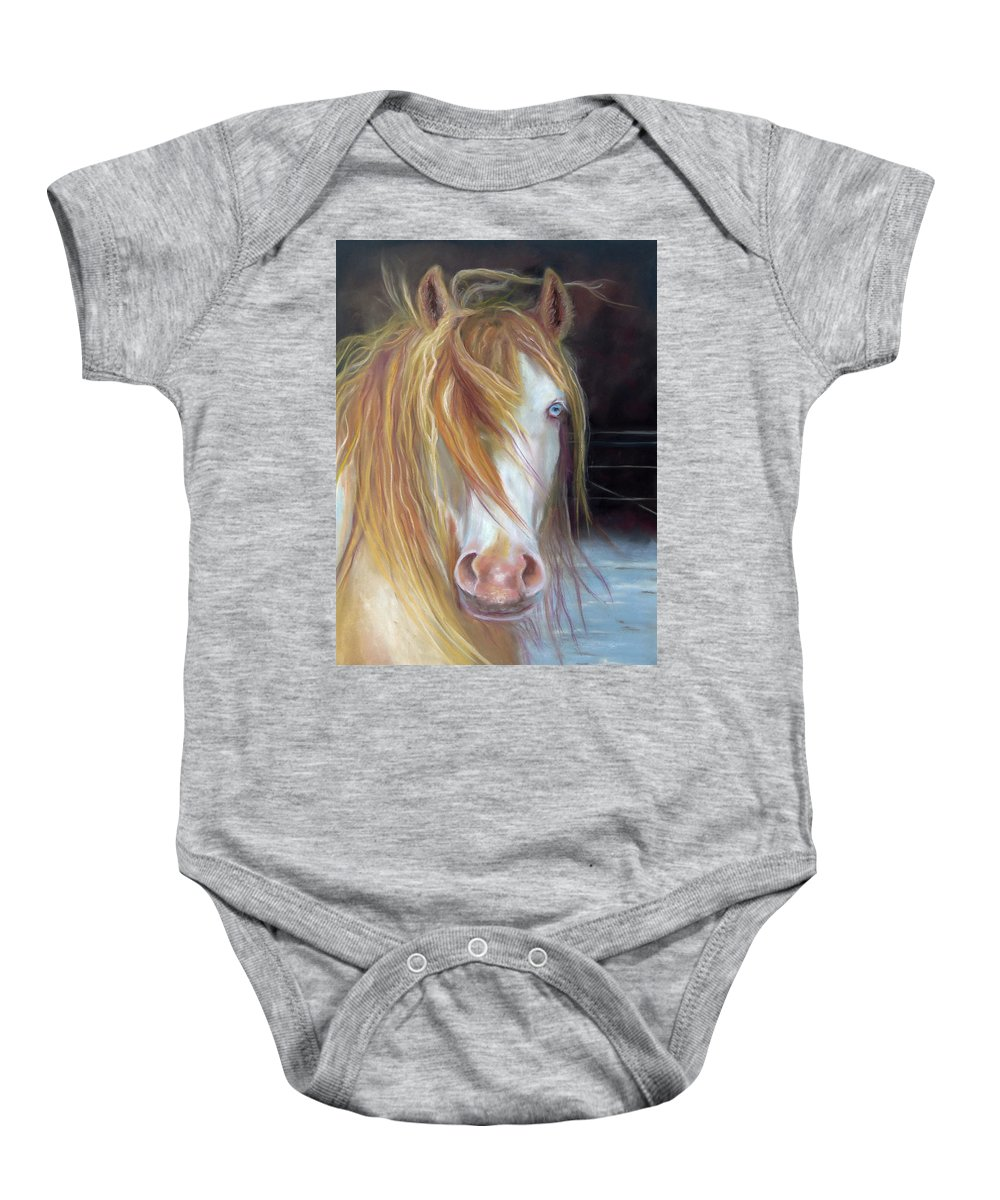 Gypsy Vanner Equine Art Baby Onesie featuring the painting White Chocolate Stallion by Karen Kennedy Chatham