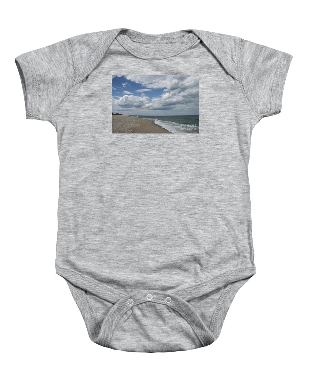 Clouds Baby Onesie featuring the photograph White Clouds Over The Ocean by Christiane Schulze Art And Photography
