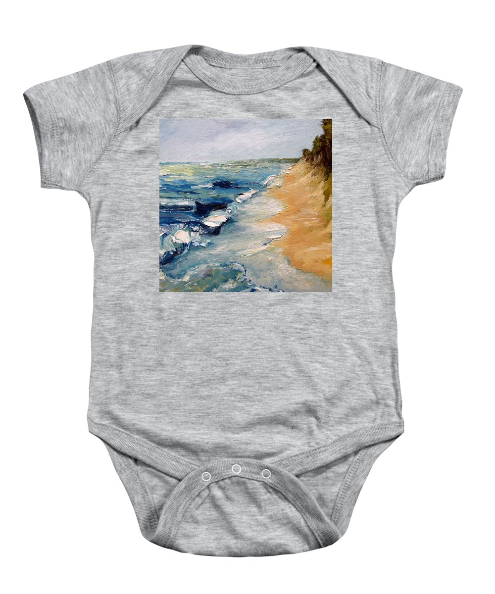 Whitecaps Baby Onesie featuring the painting Whitecaps On Lake Michigan 3.0 by Michelle Calkins