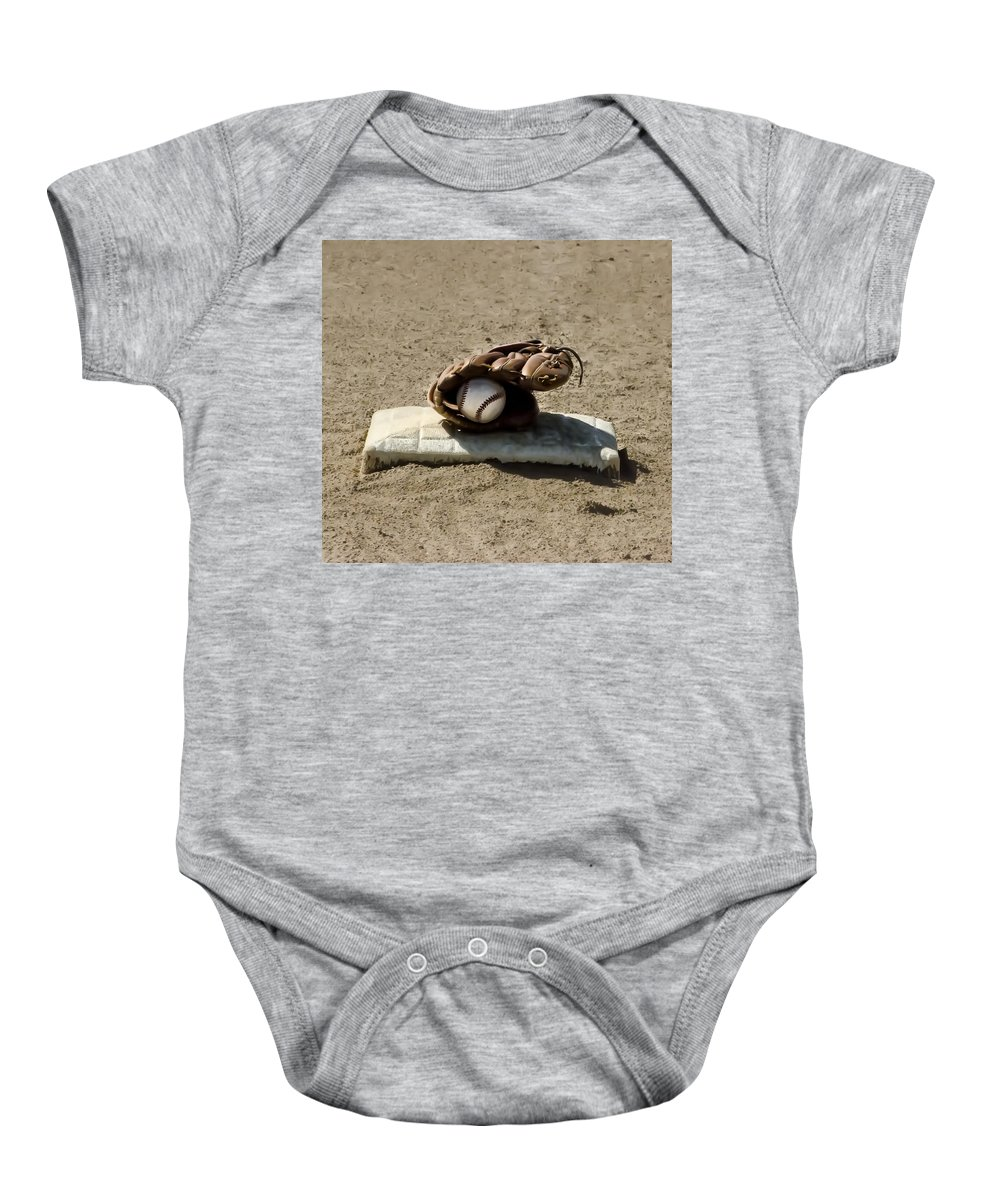 Who's On First Baby Onesie featuring the photograph Who's On First by Bill Cannon