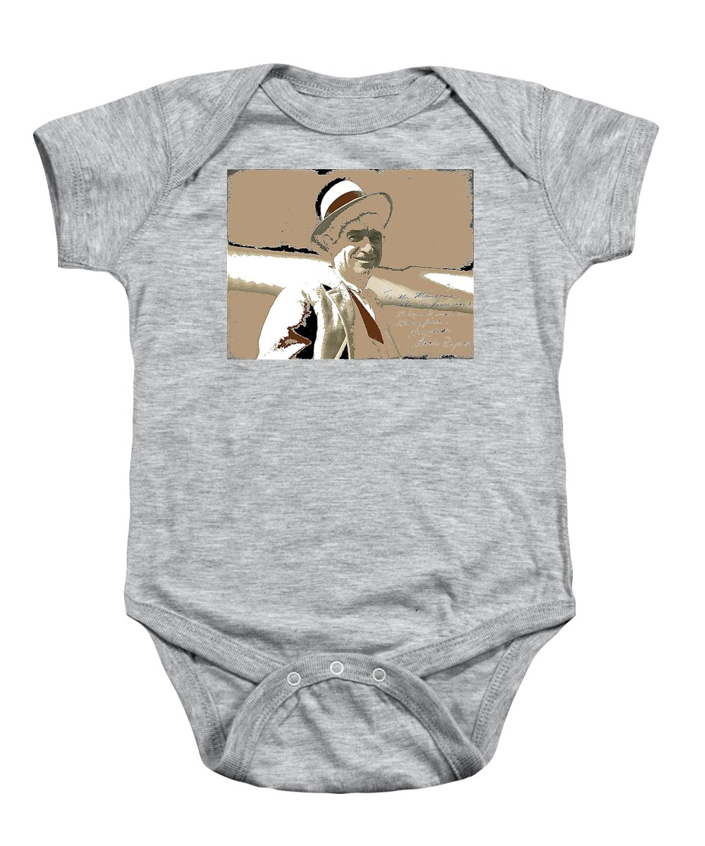 Will Rogers Informal Portrait Unknown Photographer Or Location 1924 Baby Onesie featuring the photograph Will Rogers Informal Portrait Unknown Photographer Or Location 1924-2014 by David Lee Guss