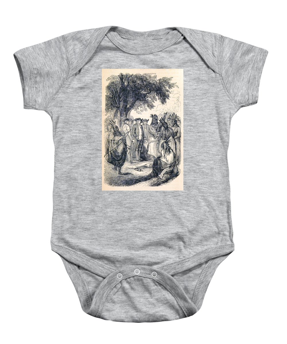 History Baby Onesie featuring the photograph William Penns Treaty With The Indians by British Library