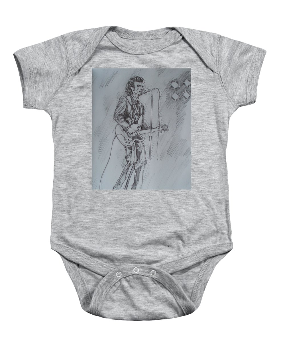 Pencil Baby Onesie featuring the drawing Willy Deville - Steady Drivin' Man by Sean Connolly