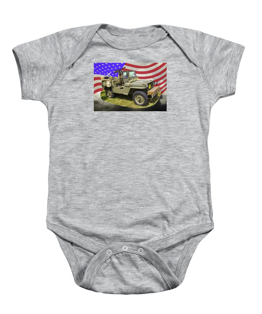 Army Baby Onesie featuring the photograph Willys World War Two Army Jeep And American Flag by Keith Webber Jr